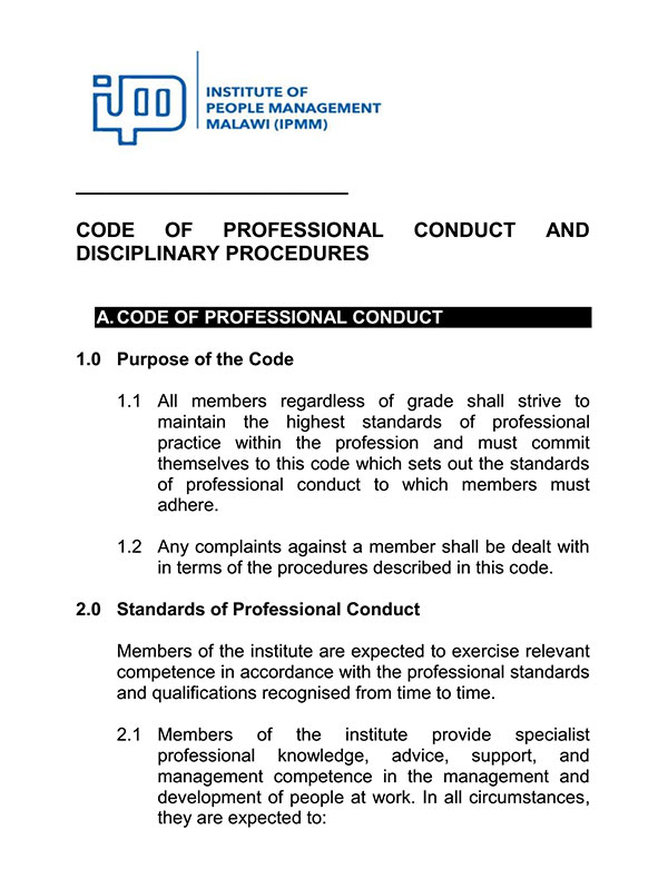 Code of Professional Conduct and Disciplinary Procedures